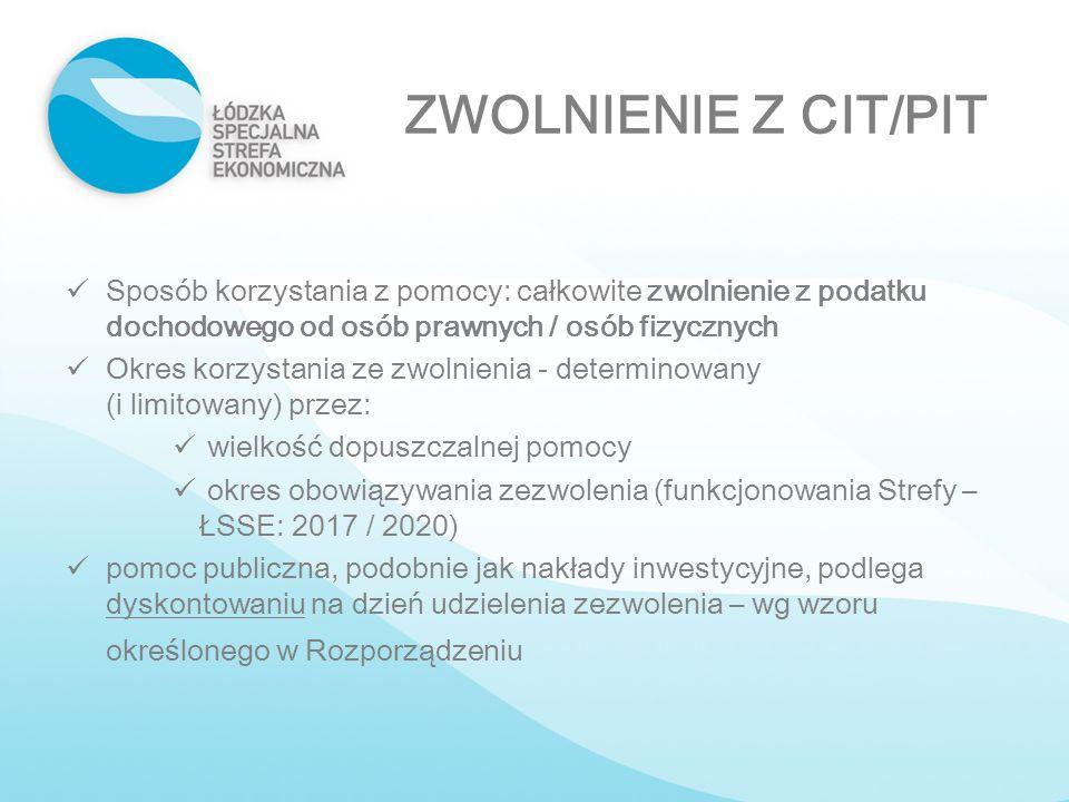ZWOLNIENIE Z CIT/PIT Sposób korzystania z pomocy: całkowite zwolnienie z podatku dochodowego od osób prawnych / osób fizycznych Okres korzystania ze z