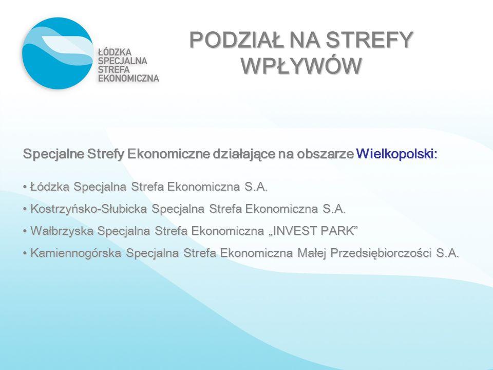 PODZIAŁ NA STREFY WPŁYWÓW Specjalne Strefy Ekonomiczne działające na obszarze Wielkopolski: Łódzka Specjalna Strefa Ekonomiczna S.A. Łódzka Specjalna