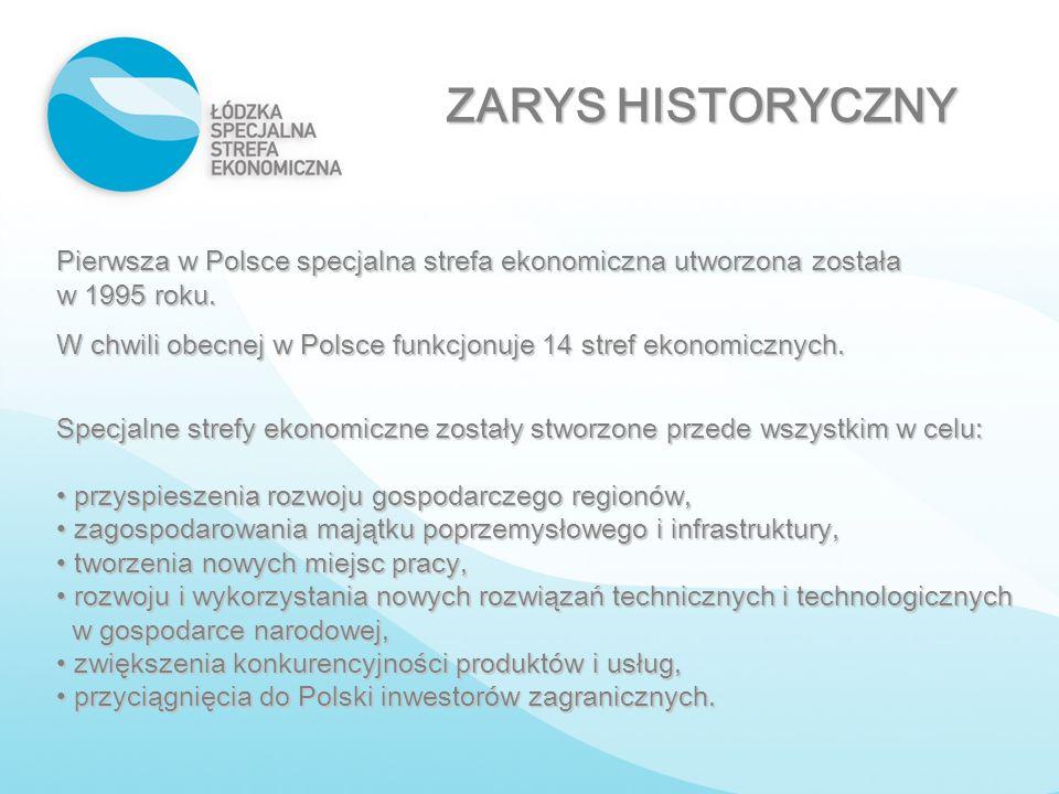 ZARYS HISTORYCZNY Pierwsza w Polsce specjalna strefa ekonomiczna utworzona została w 1995 roku. W chwili obecnej w Polsce funkcjonuje 14 stref ekonomi
