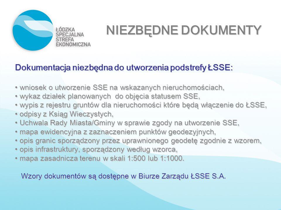 NIEZBĘDNE DOKUMENTY Dokumentacja niezbędna do utworzenia podstrefy ŁSSE: wniosek o utworzenie SSE na wskazanych nieruchomościach, wniosek o utworzenie