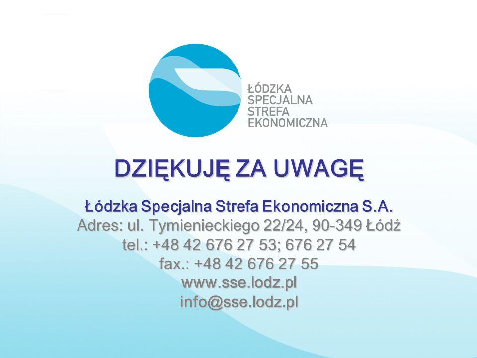 DZIĘKUJ Ę ZA UWAGĘ Łódzka Specjalna Strefa Ekonomiczna S.A. Adres: ul. Tymienieckiego 22/24, 90-349 Łódź tel.: +48 42 676 27 53; 676 27 54 fax.: +48 4