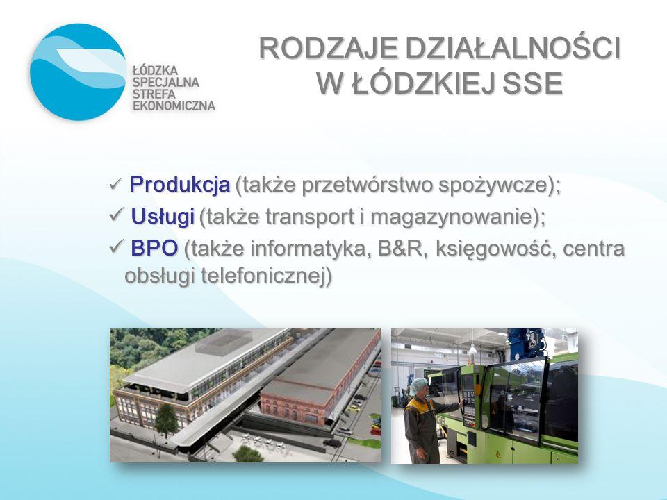 Produkcja (także przetwórstwo spożywcze); Produkcja (także przetwórstwo spożywcze); Usługi (także transport i magazynowanie); Usługi (także transport