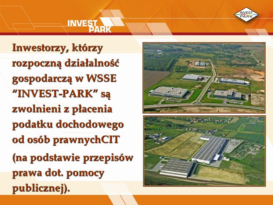 Inwestorzy, którzy rozpoczną działalność gospodarczą w WSSE INVEST-PARK są zwolnieni z płacenia podatku dochodowego od osób prawnychCIT (na podstawie przepisów prawa dot.