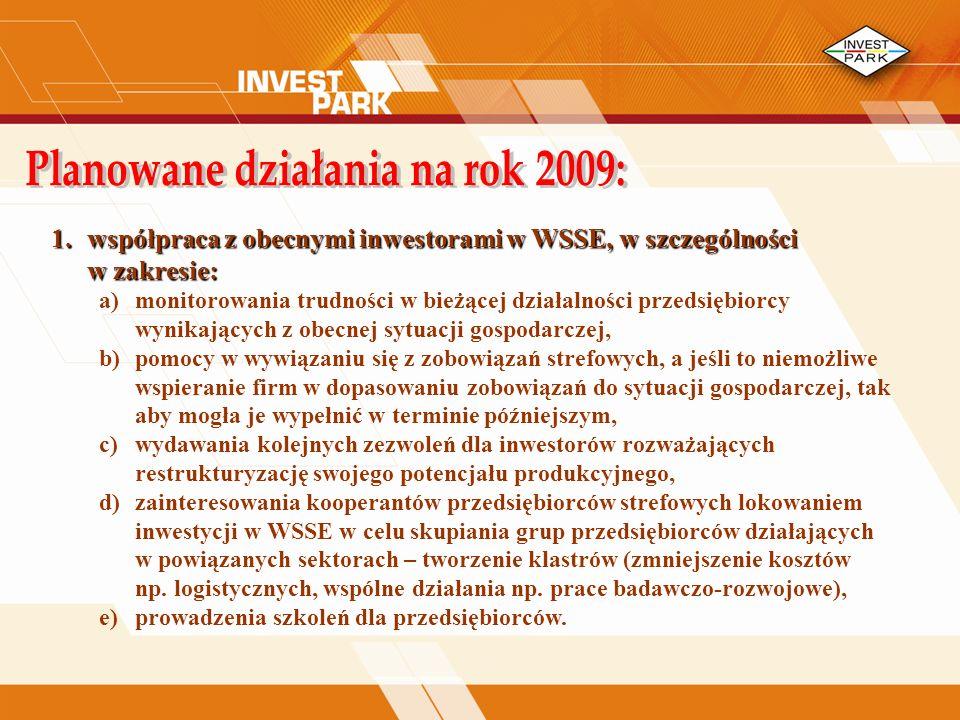 1.współpraca z obecnymi inwestorami w WSSE, w szczególności w zakresie: a)monitorowania trudności w bieżącej działalności przedsiębiorcy wynikających z obecnej sytuacji gospodarczej, b)pomocy w wywiązaniu się z zobowiązań strefowych, a jeśli to niemożliwe wspieranie firm w dopasowaniu zobowiązań do sytuacji gospodarczej, tak aby mogła je wypełnić w terminie późniejszym, c)wydawania kolejnych zezwoleń dla inwestorów rozważających restrukturyzację swojego potencjału produkcyjnego, d)zainteresowania kooperantów przedsiębiorców strefowych lokowaniem inwestycji w WSSE w celu skupiania grup przedsiębiorców działających w powiązanych sektorach – tworzenie klastrów (zmniejszenie kosztów np.