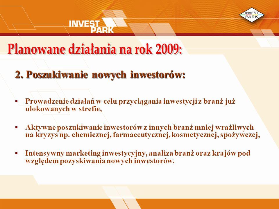 2. Poszukiwanie nowych inwestorów: Prowadzenie działań w celu przyciągania inwestycji z branż już ulokowanych w strefie, Aktywne poszukiwanie inwestor