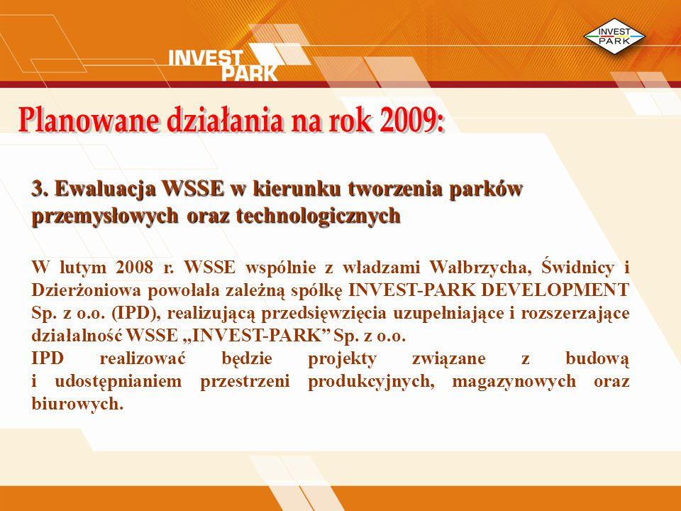 3.Ewaluacja WSSE w kierunku tworzenia parków przemysłowych oraz technologicznych W lutym 2008 r.