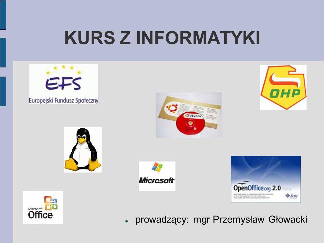 KURS Z INFORMATYKI prowadzący: mgr Przemysław Głowacki