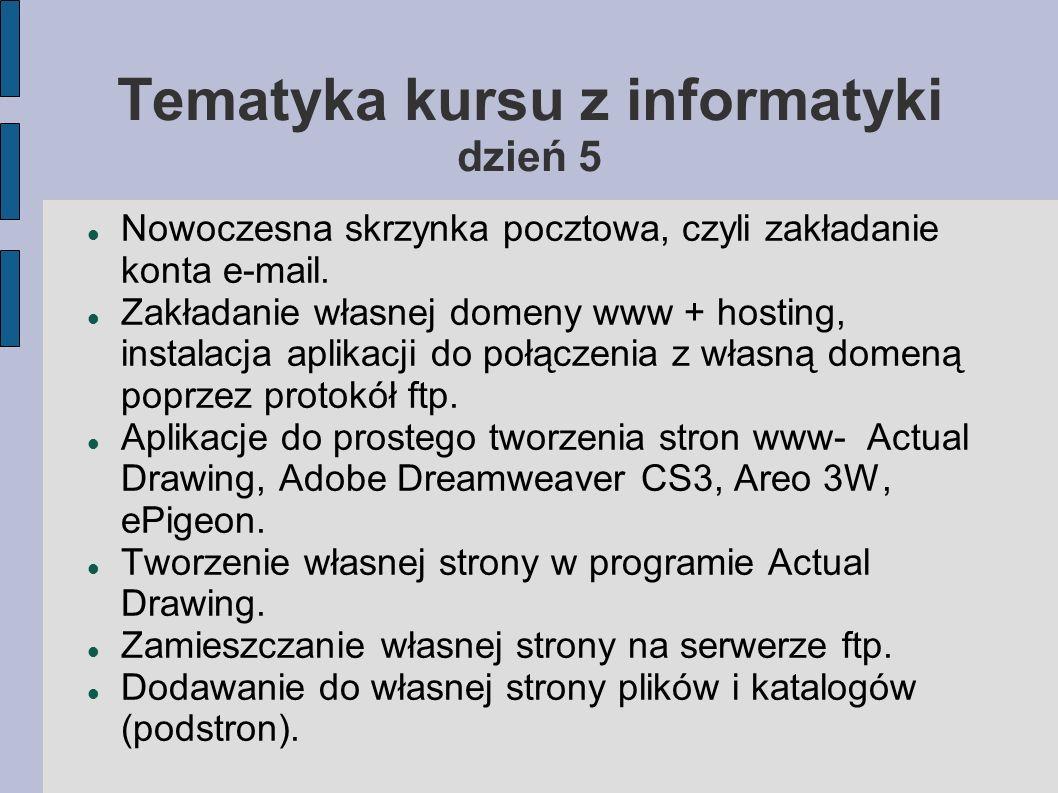 Tematyka kursu z informatyki dzień 5 Nowoczesna skrzynka pocztowa, czyli zakładanie konta e-mail. Zakładanie własnej domeny www + hosting, instalacja