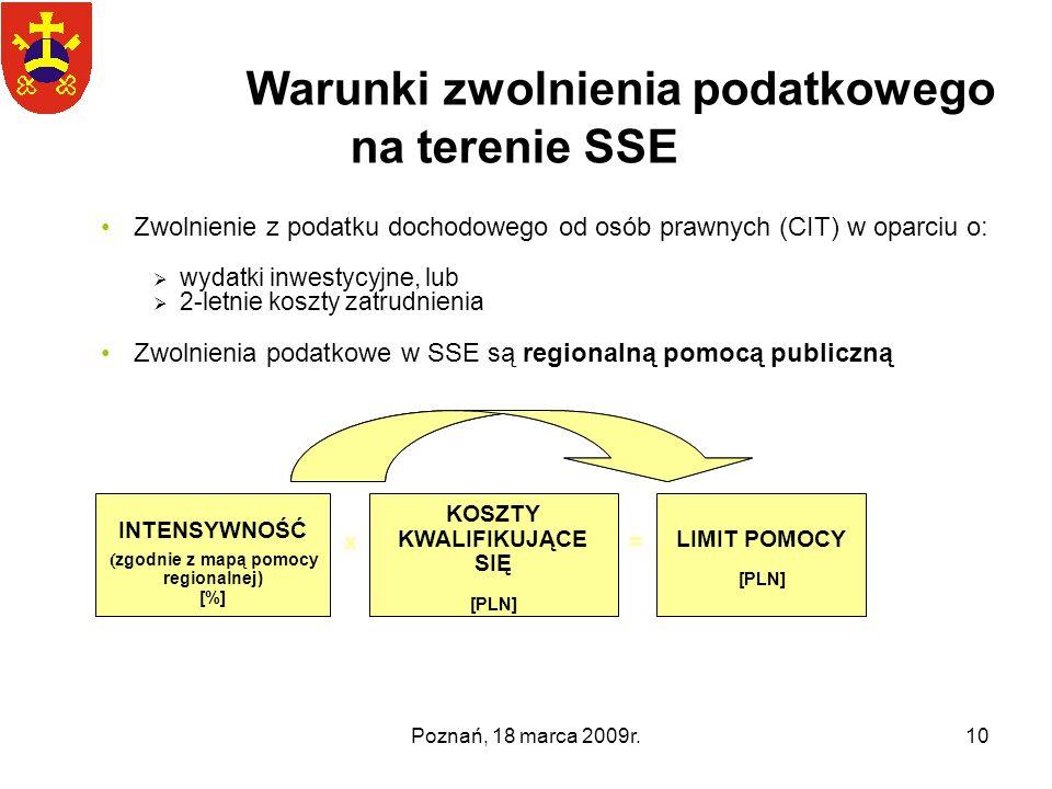 Poznań, 18 marca 2009r.10 Zwolnienie z podatku dochodowego od osób prawnych (CIT) w oparciu o: wydatki inwestycyjne, lub 2-letnie koszty zatrudnienia