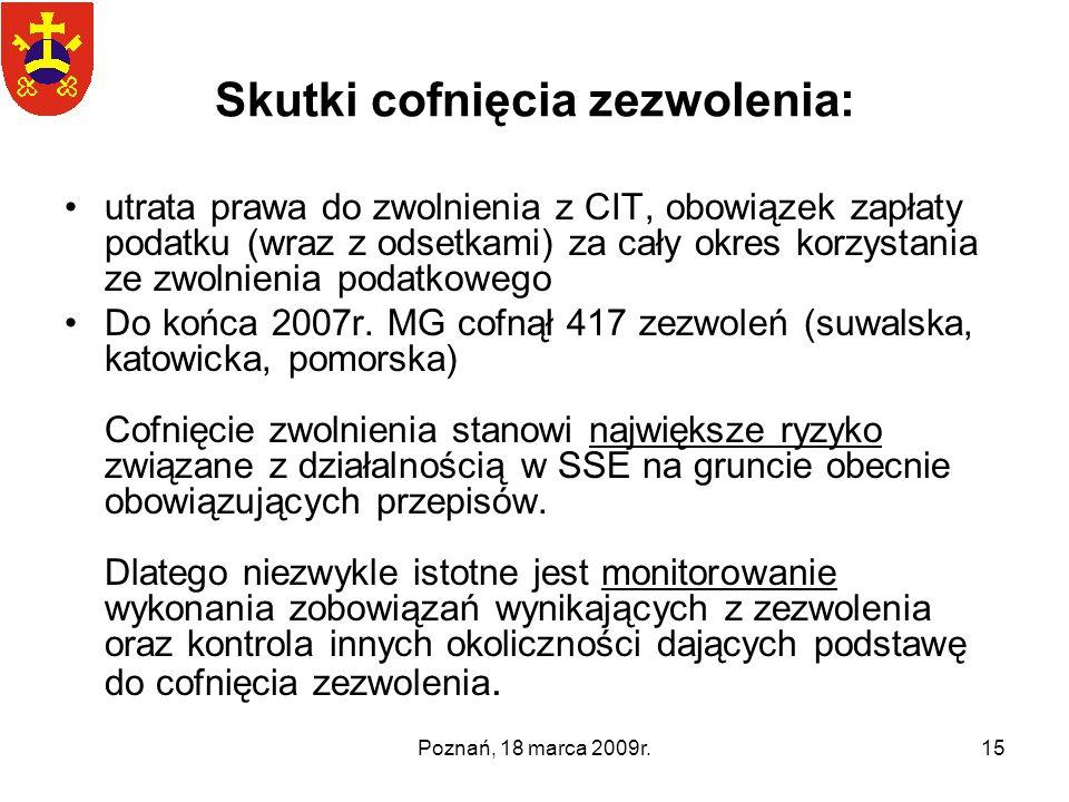 Poznań, 18 marca 2009r.15 Skutki cofnięcia zezwolenia: utrata prawa do zwolnienia z CIT, obowiązek zapłaty podatku (wraz z odsetkami) za cały okres ko