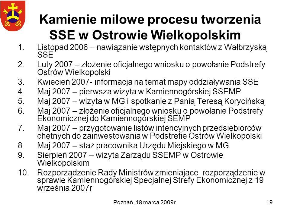 Poznań, 18 marca 2009r.19 Kamienie milowe procesu tworzenia SSE w Ostrowie Wielkopolskim 1.Listopad 2006 – nawiązanie wstępnych kontaktów z Wałbrzyską