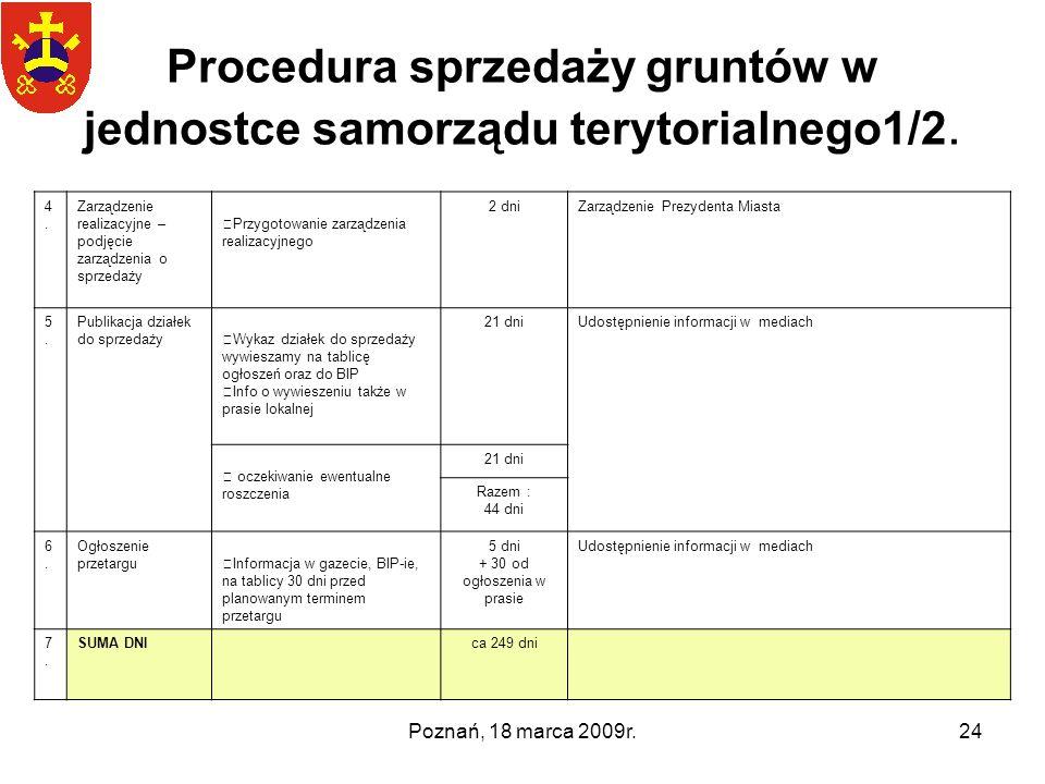 Poznań, 18 marca 2009r.24 Procedura sprzedaży gruntów w jednostce samorządu terytorialnego1/2. 4.4. Zarządzenie realizacyjne – podjęcie zarządzenia o