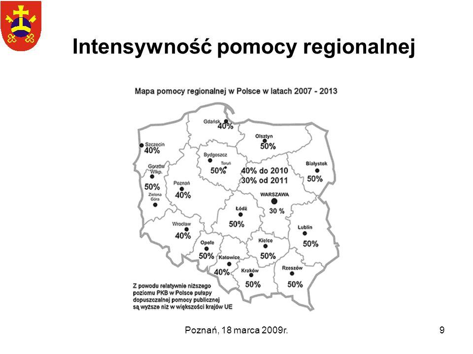 Poznań, 18 marca 2009r.9 Intensywność pomocy regionalnej
