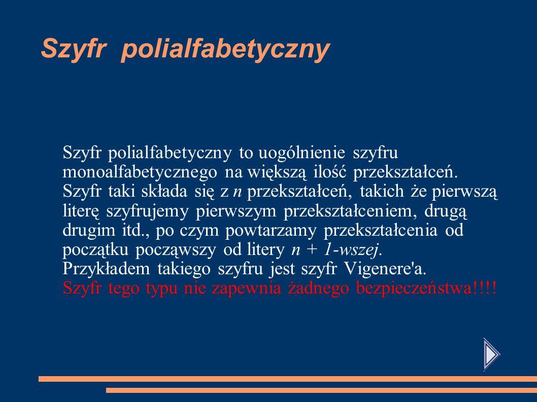 Szyfr monoalabetyczny Szyfr, w którym jednej literze alfabetu jawnego odpowiada dokładnie jedna litera alfabetu tajnego Szyfr taki nigdy nie zapewniał