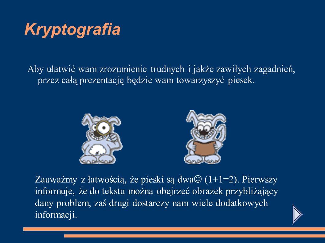 Kryptografia Aby ułatwić wam zrozumienie trudnych i jakże zawiłych zagadnień, przez całą prezentację będzie wam towarzyszyć piesek.