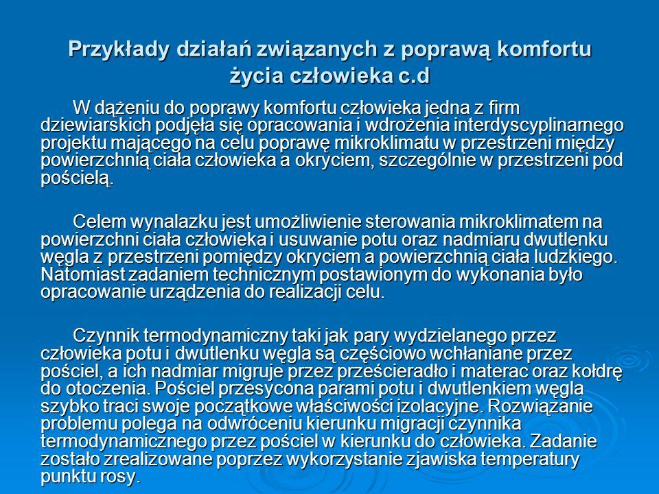 Przykłady działań związanych z poprawą komfortu życia człowieka c.d W dążeniu do poprawy komfortu człowieka jedna z firm dziewiarskich podjęła się opr