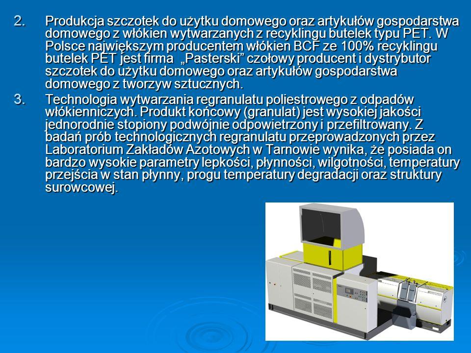 2. Produkcja szczotek do użytku domowego oraz artykułów gospodarstwa domowego z włókien wytwarzanych z recyklingu butelek typu PET. W Polsce największ