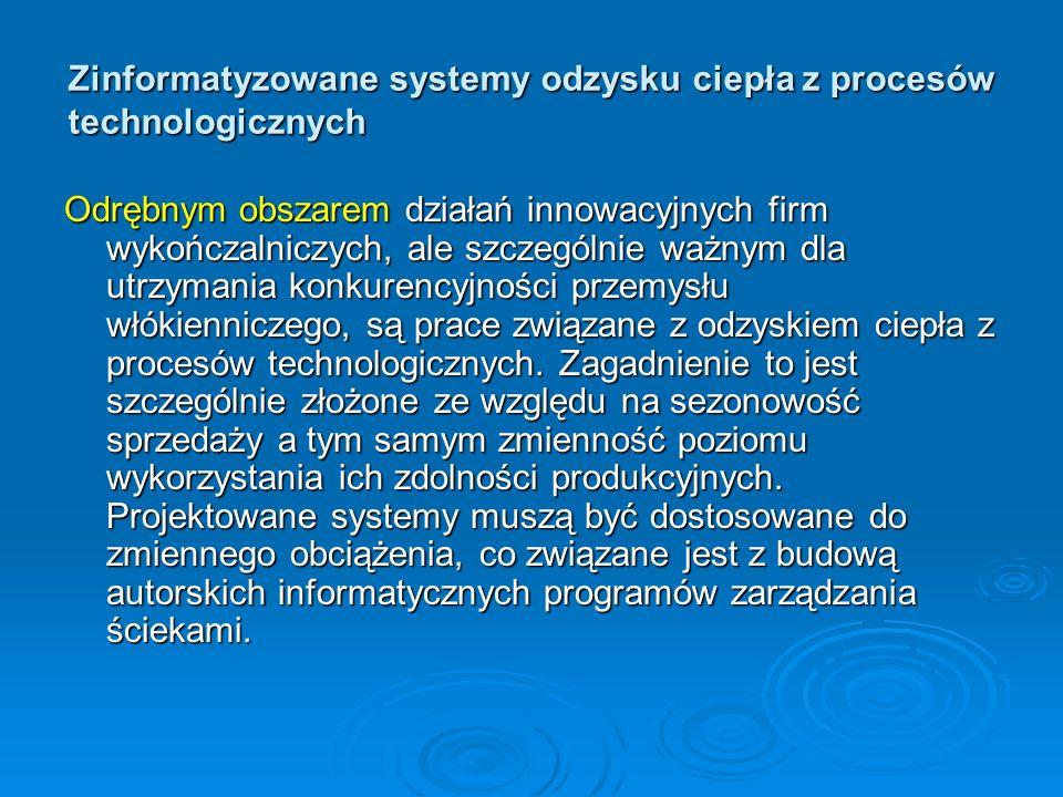 Zinformatyzowane systemy odzysku ciepła z procesów technologicznych Odrębnym obszarem działań innowacyjnych firm wykończalniczych, ale szczególnie waż