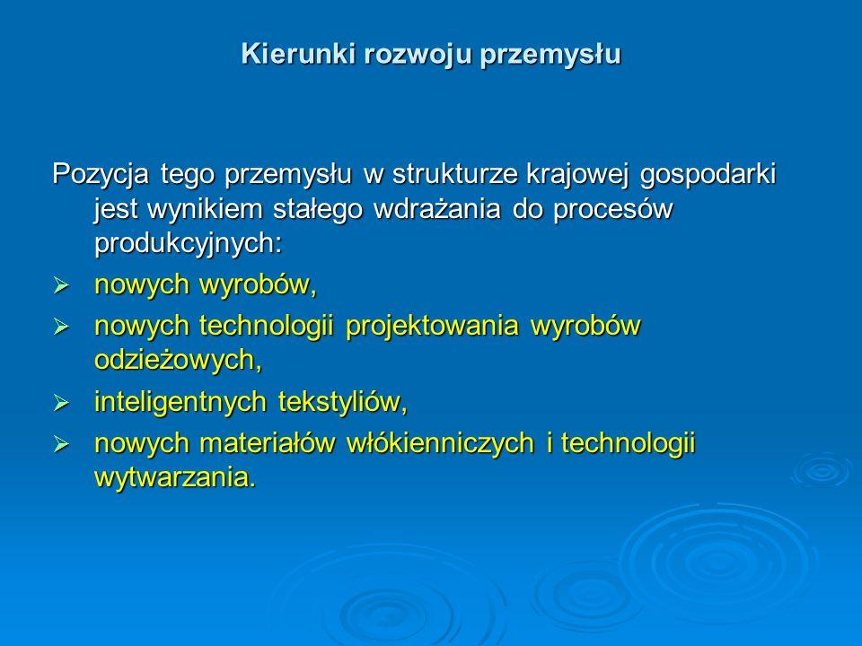 Kierunki rozwoju przemysłu Pozycja tego przemysłu w strukturze krajowej gospodarki jest wynikiem stałego wdrażania do procesów produkcyjnych: nowych w