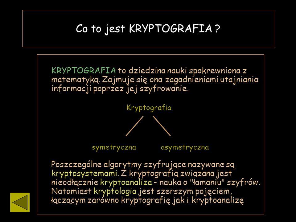 ? Kryptografia symetryczna / asymetryczna Urządzenia szyfrujące Najprostsze szyfry Co to jest kryptografia Programik :D