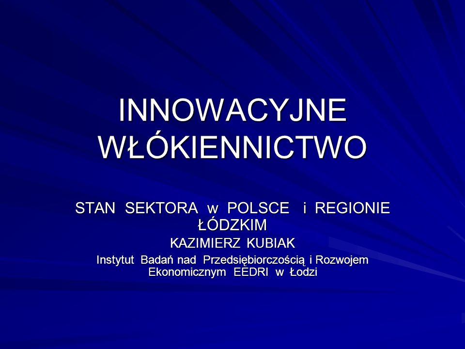 INNOWACYJNE WŁÓKIENNICTWO STAN SEKTORA w POLSCE i REGIONIE ŁÓDZKIM KAZIMIERZ KUBIAK Instytut Badań nad Przedsiębiorczością i Rozwojem Ekonomicznym EEDRI w Łodzi