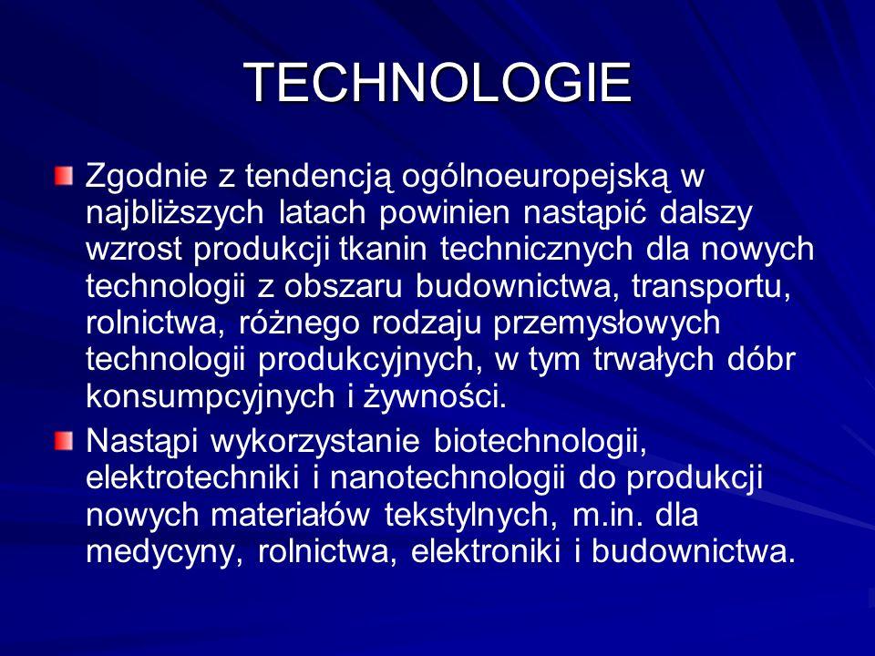TECHNOLOGIE Zgodnie z tendencją ogólnoeuropejską w najbliższych latach powinien nastąpić dalszy wzrost produkcji tkanin technicznych dla nowych technologii z obszaru budownictwa, transportu, rolnictwa, różnego rodzaju przemysłowych technologii produkcyjnych, w tym trwałych dóbr konsumpcyjnych i żywności.