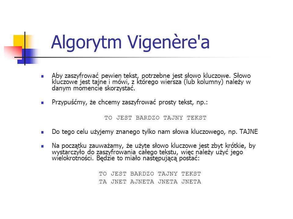 Algorytm Vigenère'a Aby zaszyfrować pewien tekst, potrzebne jest słowo kluczowe. Słowo kluczowe jest tajne i mówi, z którego wiersza (lub kolumny) nal