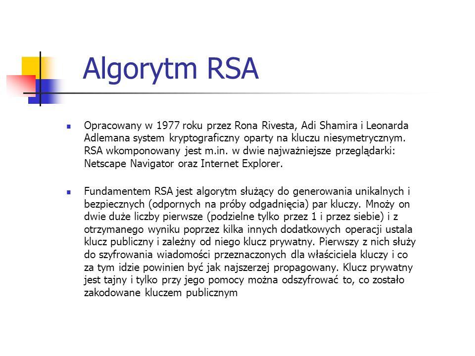 Algorytm RSA Opracowany w 1977 roku przez Rona Rivesta, Adi Shamira i Leonarda Adlemana system kryptograficzny oparty na kluczu niesymetrycznym. RSA w