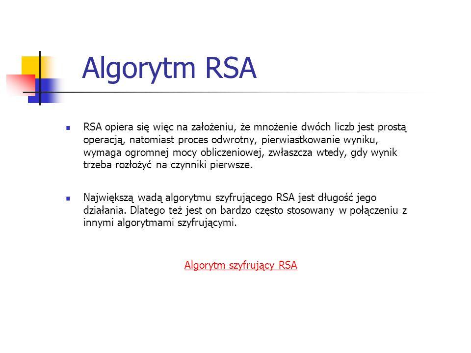 Algorytm RSA RSA opiera się więc na założeniu, że mnożenie dwóch liczb jest prostą operacją, natomiast proces odwrotny, pierwiastkowanie wyniku, wymag