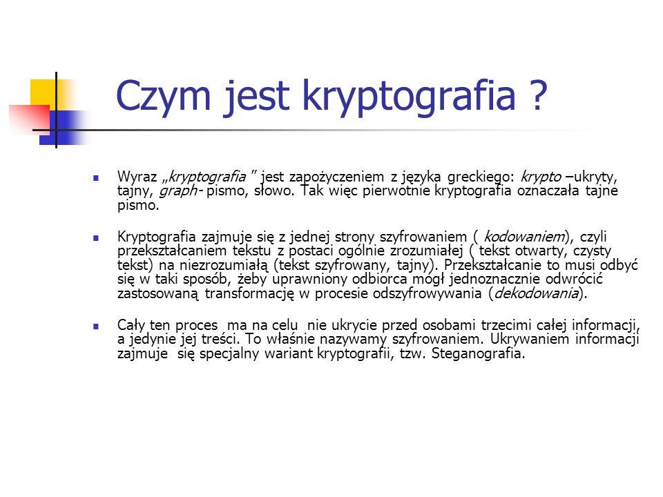 Czym jest kryptografia ? Wyraz kryptografia jest zapożyczeniem z języka greckiego: krypto –ukryty, tajny, graph- pismo, słowo. Tak więc pierwotnie kry