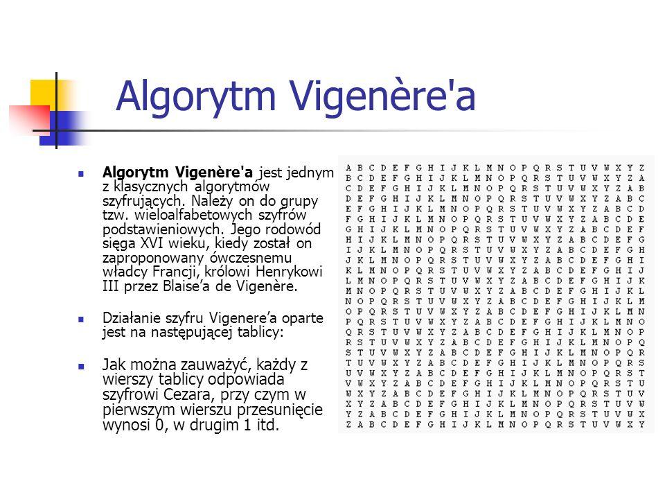 Algorytm Vigenère'a Algorytm Vigenère'a jest jednym z klasycznych algorytmów szyfrujących. Należy on do grupy tzw. wieloalfabetowych szyfrów podstawie