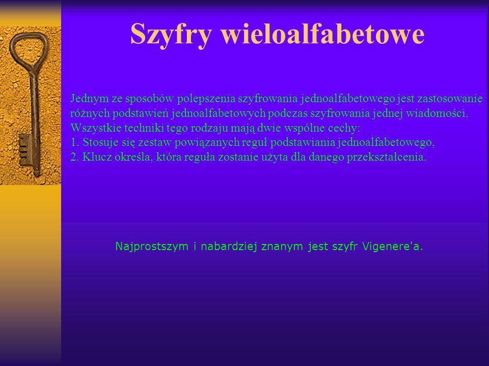 Szyfry wieloalfabetowe Jednym ze sposobów polepszenia szyfrowania jednoalfabetowego jest zastosowanie różnych podstawień jednoalfabetowych podczas szy