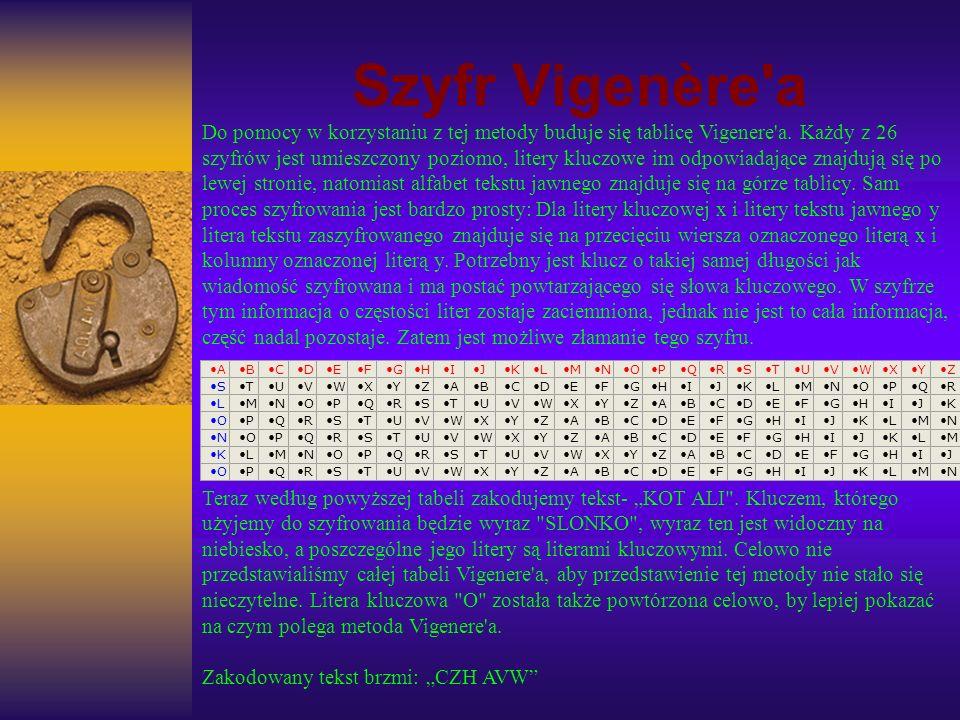 Szyfr Vigenère'a Do pomocy w korzystaniu z tej metody buduje się tablicę Vigenere'a. Każdy z 26 szyfrów jest umieszczony poziomo, litery kluczowe im o