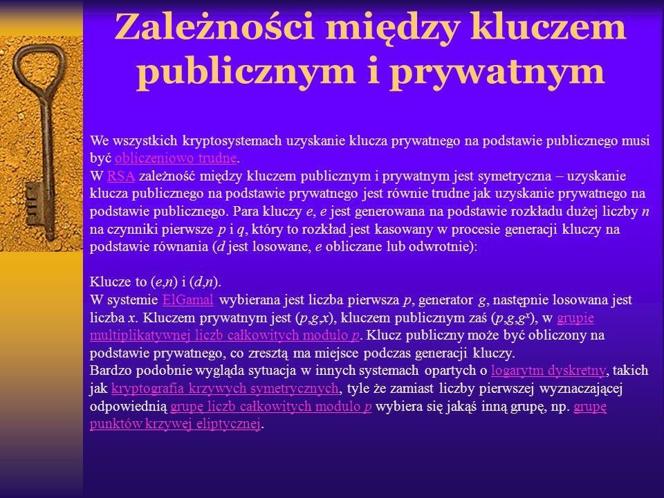 Zależności między kluczem publicznym i prywatnym We wszystkich kryptosystemach uzyskanie klucza prywatnego na podstawie publicznego musi być obliczeni