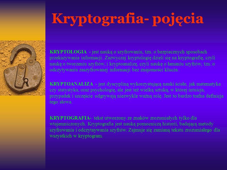 Kryptografia- pojęcia KRYPTOLOGIA - jest nauką o szyfrowaniu, tzn. o bezpiecznych sposobach przekazywania informacji. Zazwyczaj kryptologię dzieli się