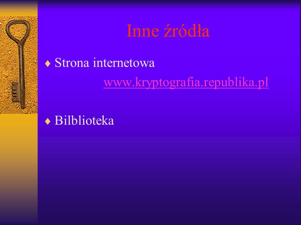 Inne źródła Strona internetowa www.kryptografia.republika.pl Bilblioteka