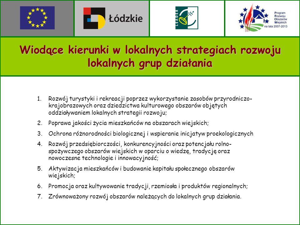 Wiodące kierunki w lokalnych strategiach rozwoju lokalnych grup działania 1.Rozwój turystyki i rekreacji poprzez wykorzystanie zasobów przyrodniczo- krajobrazowych oraz dziedzictwa kulturowego obszarów objętych oddziaływaniem lokalnych strategii rozwoju; 2.Poprawa jakości życia mieszkańców na obszarach wiejskich; 3.Ochrona różnorodności biologicznej i wspieranie inicjatyw proekologicznych 4.Rozwój przedsiębiorczości, konkurencyjności oraz potencjału rolno- spożywczego obszarów wiejskich w oparciu o wiedzę, tradycję oraz nowoczesne technologie i innowacyjność; 5.Aktywizacja mieszkańców i budowanie kapitału społecznego obszarów wiejskich; 6.Promocja oraz kultywowanie tradycji, rzemiosła i produktów regionalnych; 7.Zrównoważony rozwój obszarów należących do lokalnych grup działania.