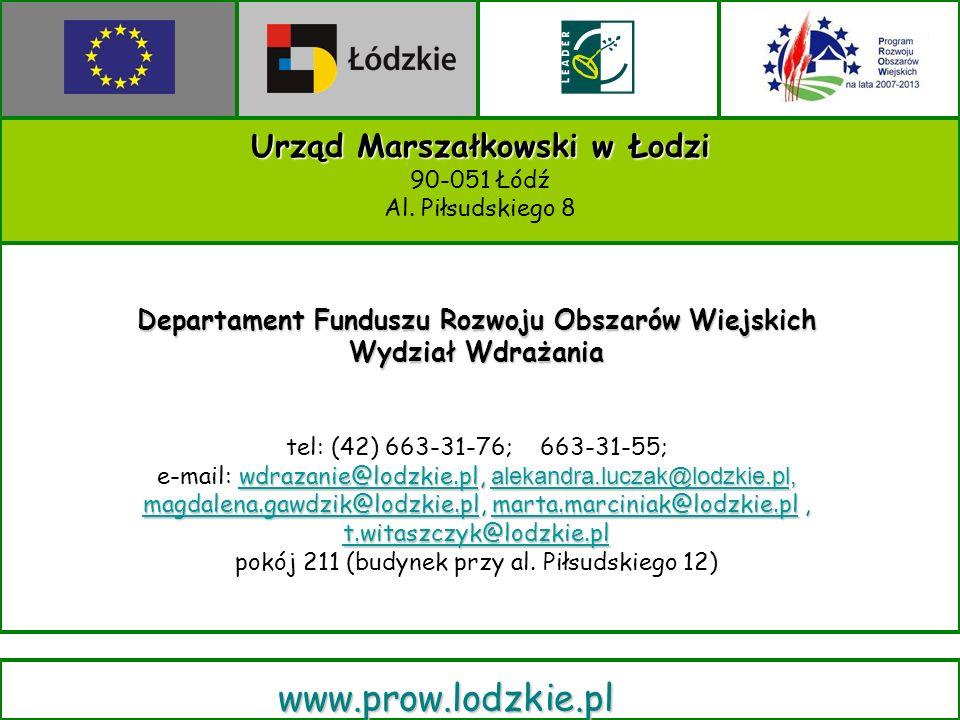 Urząd Marszałkowski w Łodzi 90-051 Łódź Al.
