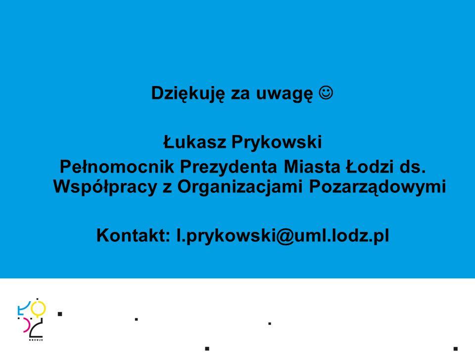 Dziękuję za uwagę Łukasz Prykowski Pełnomocnik Prezydenta Miasta Łodzi ds.