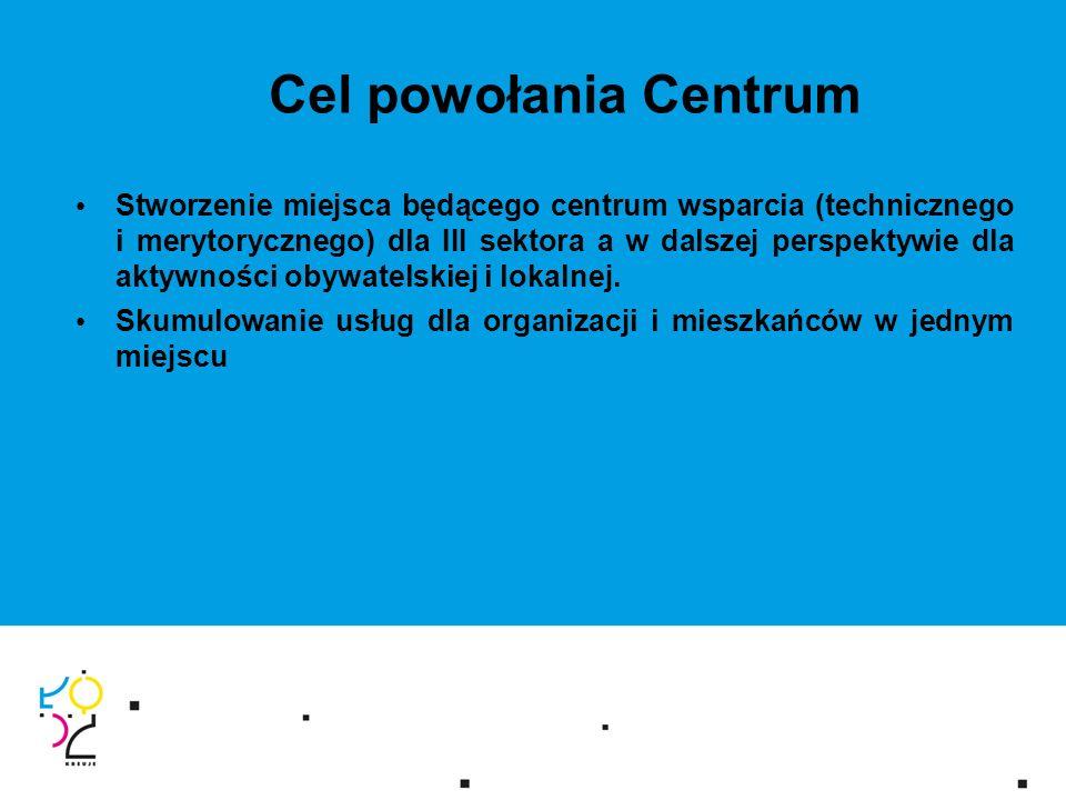Cel powołania Centrum Stworzenie miejsca będącego centrum wsparcia (technicznego i merytorycznego) dla III sektora a w dalszej perspektywie dla aktywności obywatelskiej i lokalnej.