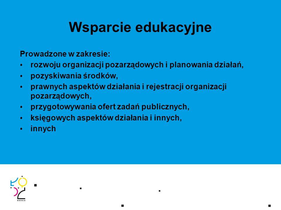 Wsparcie edukacyjne Prowadzone w zakresie: rozwoju organizacji pozarządowych i planowania działań, pozyskiwania środków, prawnych aspektów działania i rejestracji organizacji pozarządowych, przygotowywania ofert zadań publicznych, księgowych aspektów działania i innych, innych