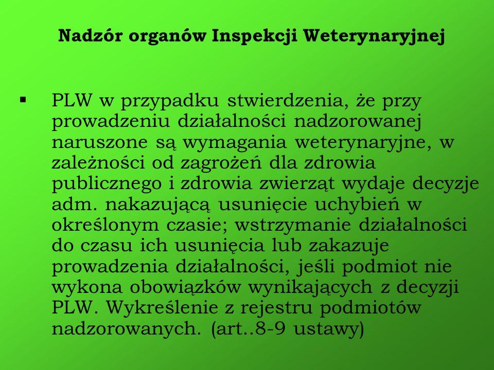 PLW w przypadku stwierdzenia, że przy prowadzeniu działalności nadzorowanej naruszone są wymagania weterynaryjne, w zależności od zagrożeń dla zdrowia