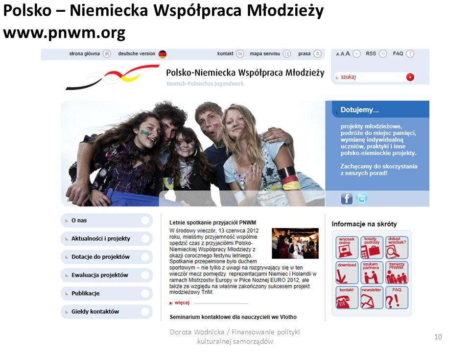 Dorota Wodnicka / Finansowanie polityki kulturalnej samorządów 10 Polsko – Niemiecka Współpraca Młodzieży www.pnwm.org
