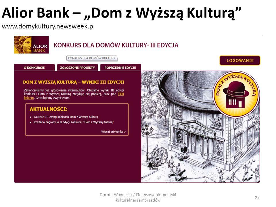 Dorota Wodnicka / Finansowanie polityki kulturalnej samorządów 27 Alior Bank – Dom z Wyższą Kulturą www.domykultury.newsweek.pl