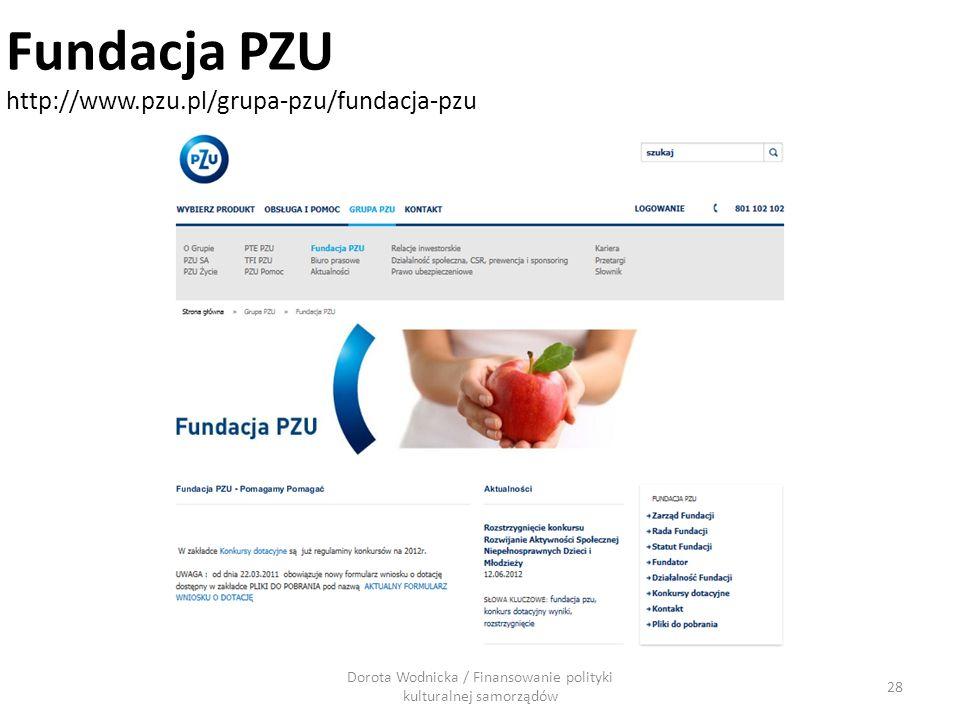 Dorota Wodnicka / Finansowanie polityki kulturalnej samorządów 28 Fundacja PZU http://www.pzu.pl/grupa-pzu/fundacja-pzu