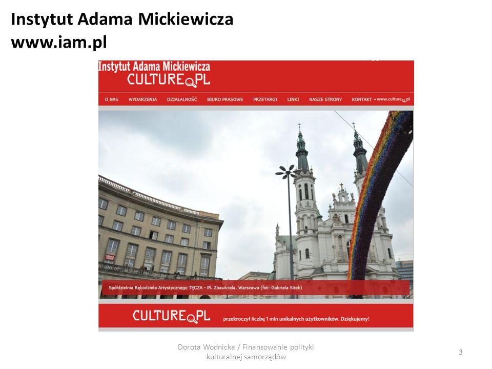 Instytut Adama Mickiewicza www.iam.pl Dorota Wodnicka / Finansowanie polityki kulturalnej samorządów 3