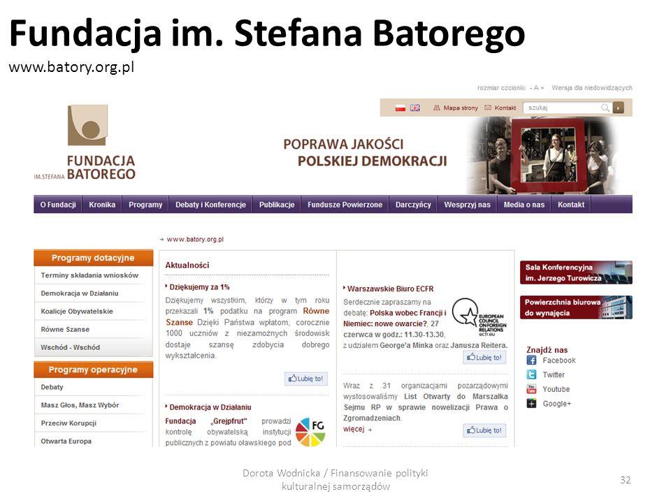 Dorota Wodnicka / Finansowanie polityki kulturalnej samorządów 32 Fundacja im. Stefana Batorego www.batory.org.pl