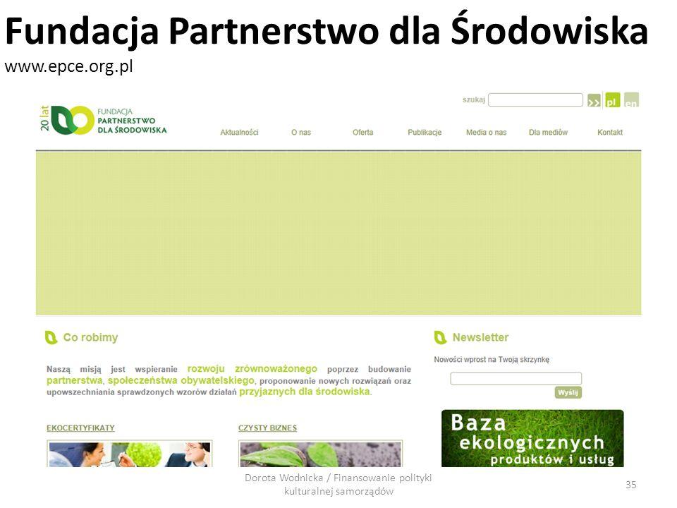 Dorota Wodnicka / Finansowanie polityki kulturalnej samorządów 35 Fundacja Partnerstwo dla Środowiska www.epce.org.pl