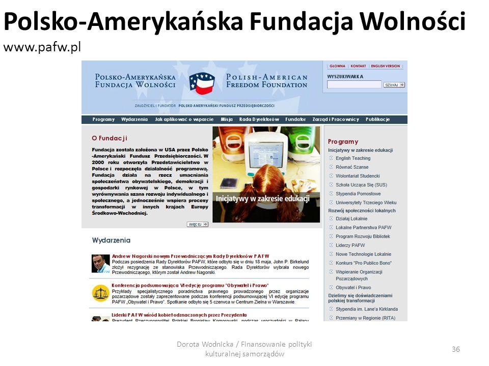 Dorota Wodnicka / Finansowanie polityki kulturalnej samorządów 36 Polsko-Amerykańska Fundacja Wolności www.pafw.pl