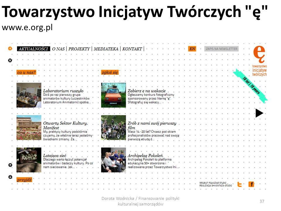 Dorota Wodnicka / Finansowanie polityki kulturalnej samorządów 37 Towarzystwo Inicjatyw Twórczych